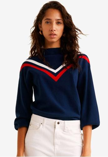 Mango blue Contrast Panel Sweater 2F401AA57EF085GS_1