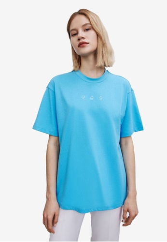 Urban Revivo blue Pattern Short Sleeve T-Shirt E8F28AA139E551GS_1