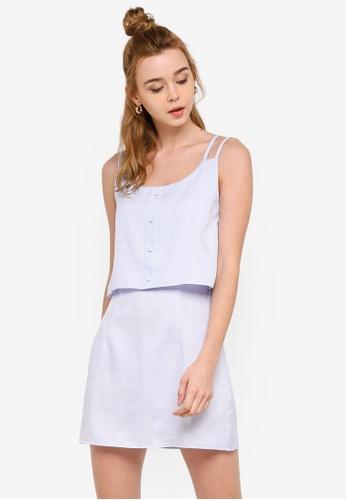 Something Borrowed 藍色 Double Layer Cami Shift Dress 1E56AAA74E2781GS_1