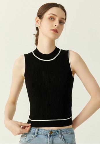HAPPY FRIDAYS black Textured Knit Color Match Vest JW PY-F04001 62752AA5E4FB28GS_1