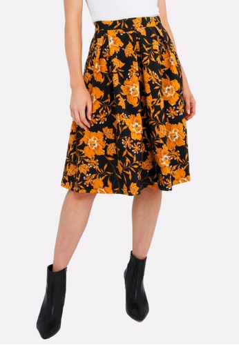 FORCAST black and yellow and multi Reina Floral A-Line Skirt 393E5AAAA967FDGS_1