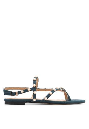 ZALORA green Pearl Sudded Sandals 0B9E6SH7E17EA0GS_1