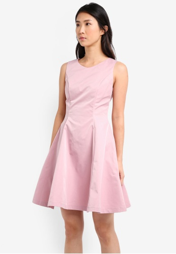 ZALORA pink Structured Fit and Flare Dress CC0E2AABC1AFA5GS_1