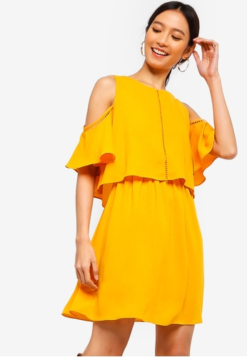 c62d1d90d97 Shop ZALORA Cold Shoulder Fit And Flare Dress Online on ZALORA Philippines
