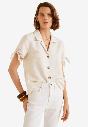 Mango beige Knots Linen Shirt 1B152AACBD82A9GS_1