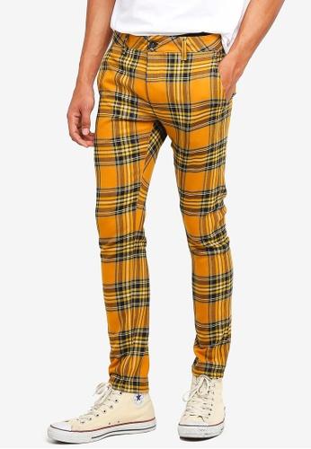 Topman yellow Yellow Check Stretch Skinny Trousers 51859AA96BDF62GS_1