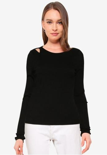 Vero Moda black Ruth Long Sleeves Asymmetrical Top BA1D2AAF238F7BGS_1