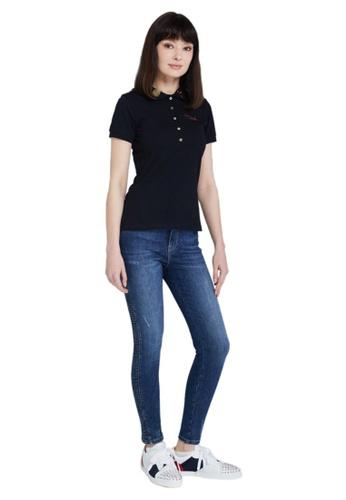 Jeremy Meeks black Women Slim Fit Short Sleeve Polo Black F858DAA74C9418GS_1