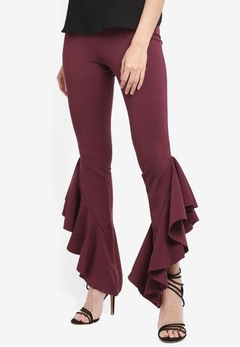 MISSGUIDED purple Asymmetric Draped Cigarette Trousers 30327AA63EB9BEGS_1