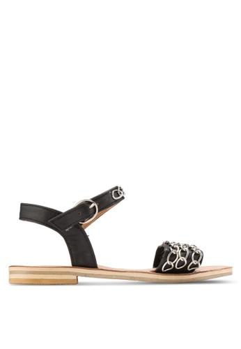 Sulima black and silver Fara Chain Sandals SU915SH60XVFMY_1