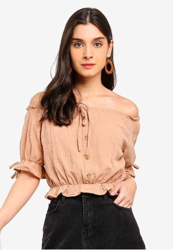 Cotton On brown Miller Off The Shoulder Top 8BEE7AA352AD31GS_1