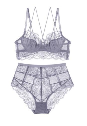 ZITIQUE grey Romantic Lace Lingerie Set (Bra And Underwear) - Grey D5811US2D0DB1AGS_1