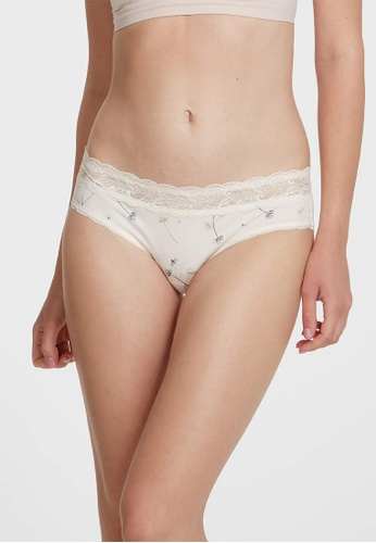6IXTY8IGHT beige BRITI AOP, Modal Allover Floral Hipster Panty PT10360 6AAD2US3B3945AGS_1