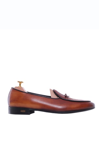Zeve Shoes brown Zeve Shoes Belgian Loafer - Cognac Tan Snake Skin With Ribbon (Hand Painted Patina) 88FEESHAF4AF88GS_1