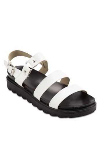 寬帶扣環繞esprit分店踝厚底涼鞋, 女鞋, 鞋