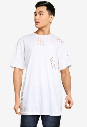 Brave Soul 白色 刷破長版T恤 796B8AA9E85A2DGS_1
