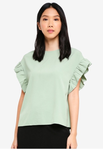 ZALORA green Ruffle Sleeve Oversized Top CC247AA19888B2GS_1