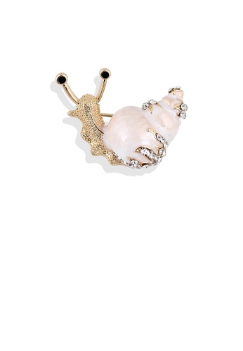 Glamorousky white Fashion and Lovely Plated Gold White Snail Brooch with Cubic Zirconia 06343ACFEBB33DGS_1