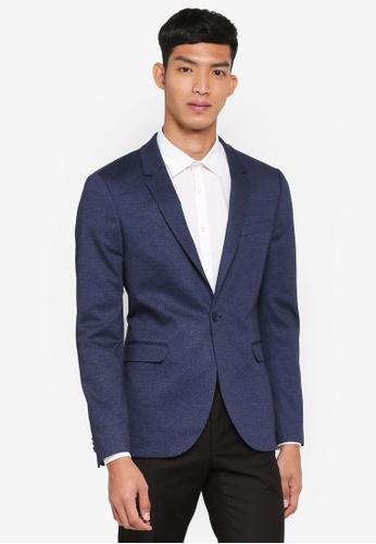 Topman 藍色 經典修身西裝外套 AB39FAA1DBD18DGS_1