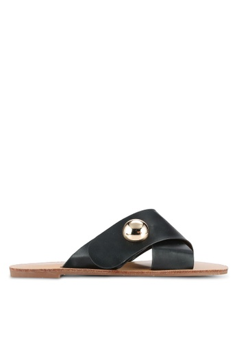 Something Borrowed black Cross Over Sandals BE09BSHD2056FCGS_1