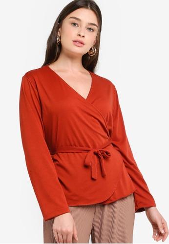 ZALIA BASICS 紅色 Long Sleeves Wrap Top 1ACBEAA83AE193GS_1