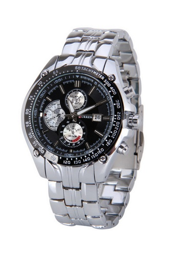 curren black and silver Curren 8083 Men's Stainless Steel Watch (Silver Black) CU537AC25RQGMY_1