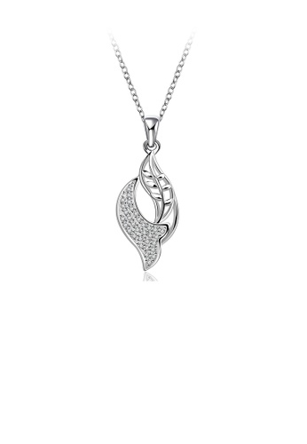 Glamorousky white Simple and Fashion Leaf Cubic Zircon Pendant with Necklace D1503AC43C772FGS_1