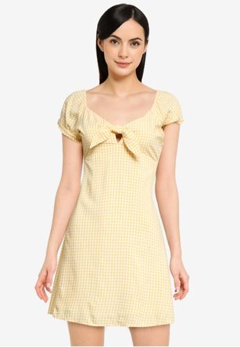 Hollister yellow Short Sleeve Woven Dress 75D25AA84491E4GS_1