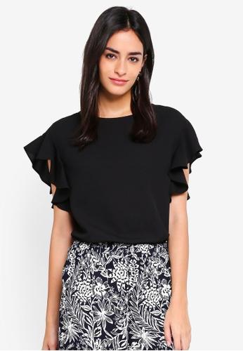 Vero Moda black Elisia Short Sleeve Top 8B41EAA1F36C94GS_1