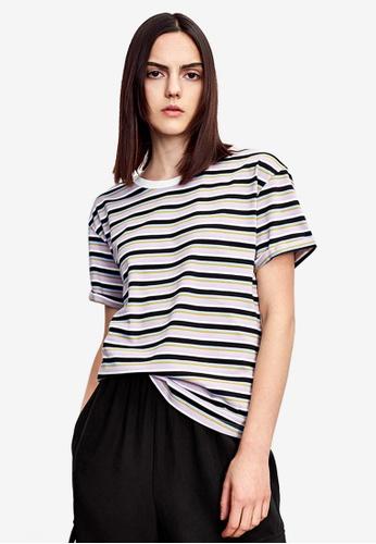 Urban Revivo purple Stripe Round Neck T-Shirt 6EC90AA2644328GS_1