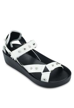 Stud Mid Heel Wedge Sandals