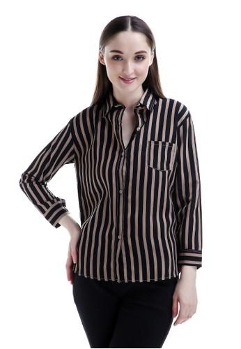 Evernoon brown Carmel Long Shirt Motif Pattern Dual Tone Color Fashionable Woman Design Chic - Mocca 34061AA52A244DGS_1
