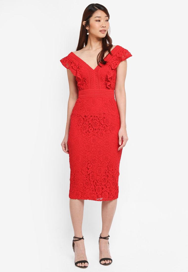 Midi Lining Dress Lace Red Little Cherry Mistress PwdUYqxU