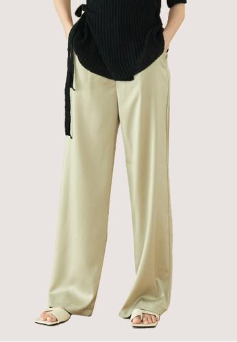 We Enjoy Simplicity green Pale Green Silky Long Pants 4E7BDAA3ABB9B3GS_1