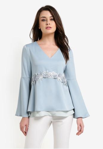 Zalia blue Lace Trim Flare Sleeve Tunic 4471BAA6035370GS_1