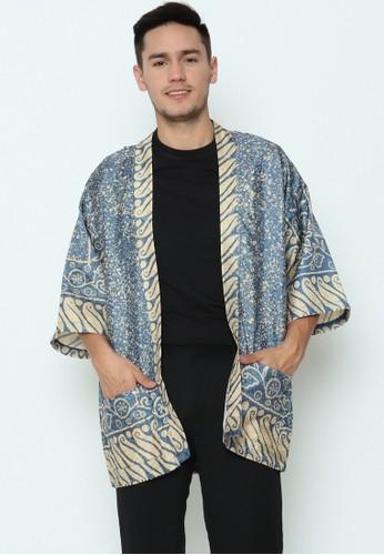 Rinjanie Avon blue and gold Rinjanie Avon - Outer Kimono Batik Blue Champagne 46C95AA57D5042GS_1