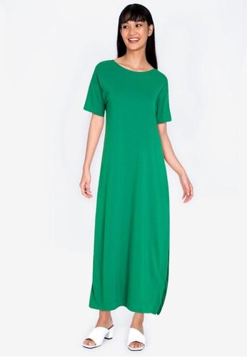 ZALORA BASICS green Open Back Maxi Dress 415EDAAE3CEB77GS_1