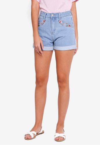 ZALORA blue Embroidered Denim Shorts D7F0BAA496D9FCGS_1