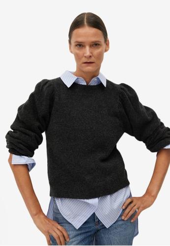 Mango grey Puffed-Shoulder Sweater D3B6BAAABD63C8GS_1