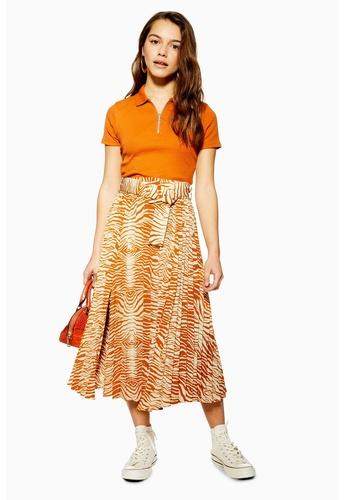 best quality agreatvarietyofmodels in stock PETITE Zebra Pleated Belt Midi Skirt