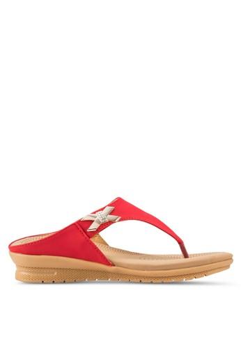 仿鑽飾人字鞋帶涼鞋, 女鞋, 楔形涼esprit 台北鞋