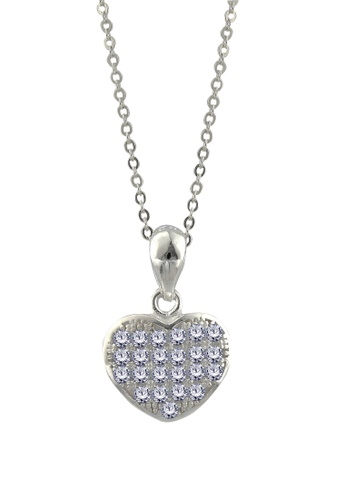 SC Tom Silver silver Heart Stone Pendant with Chain SC872AC74FGVPH_1