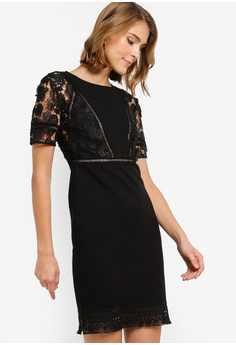 d38e36d803ed French Connection black Viola Lula Lace Jersey Short Sleeve Dress  FC93AAA5994F9FGS_1