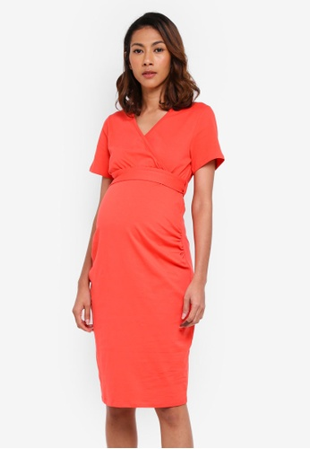 Dorothy Perkins pink Maternity Coral Wrap Dress BB96DAA9D19F66GS_1