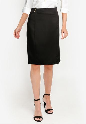 ZALORA WORK black Button Detail Skirt 2755BAAAA91737GS_1