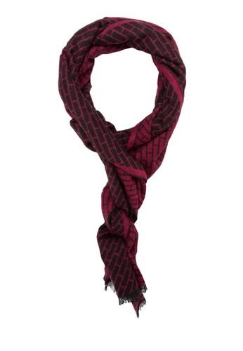 流蘇磚牆印花針zalora時尚購物網評價織圍巾, 飾品配件, 飾品配件