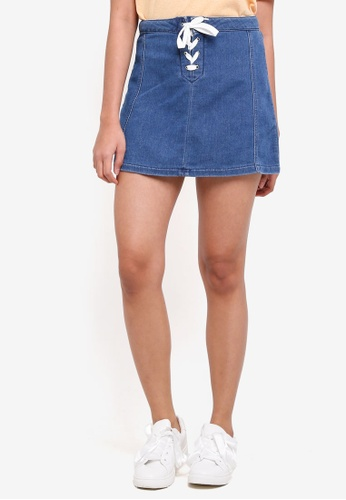 Penshoppe blue Regular Length A-Line Skirt With Lace-Ups 4F7A1AAA48CAE0GS_1