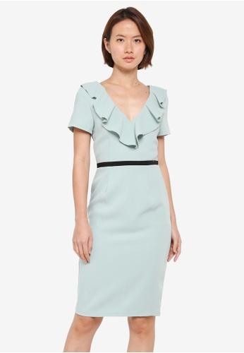 Paper Dolls green Ruffle Front Contrast Waist Dress 8C165AA07A6F94GS_1
