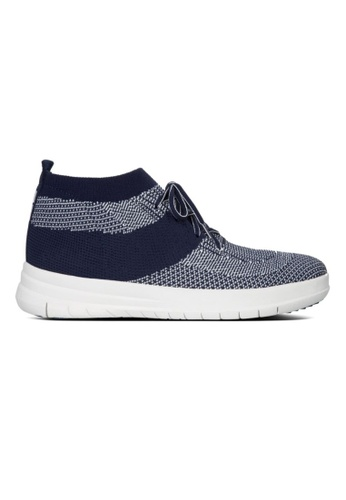 FitFlop grey and navy Fitflop Uberknit Slip On High Top Sneaker Midnight Navy / Urban White 8C8FESH2C93623GS_1