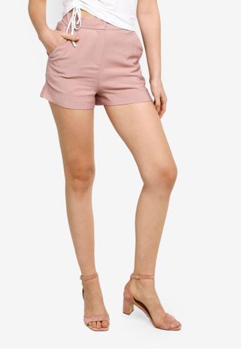 Hopeshow pink Loose Cuff Linen Shorts F1D81AA475A187GS_1